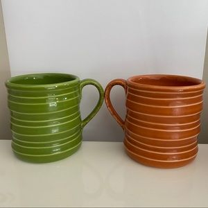 STARBUCKS 2005 Fall Green & Pumpkin Orange Mugs